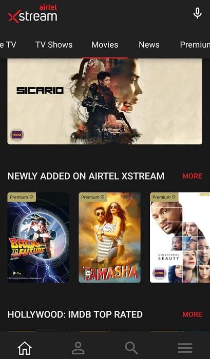 Airtel Xstream App on Android Smart TV