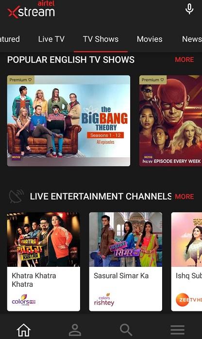 Airtel Xstream on Android TV