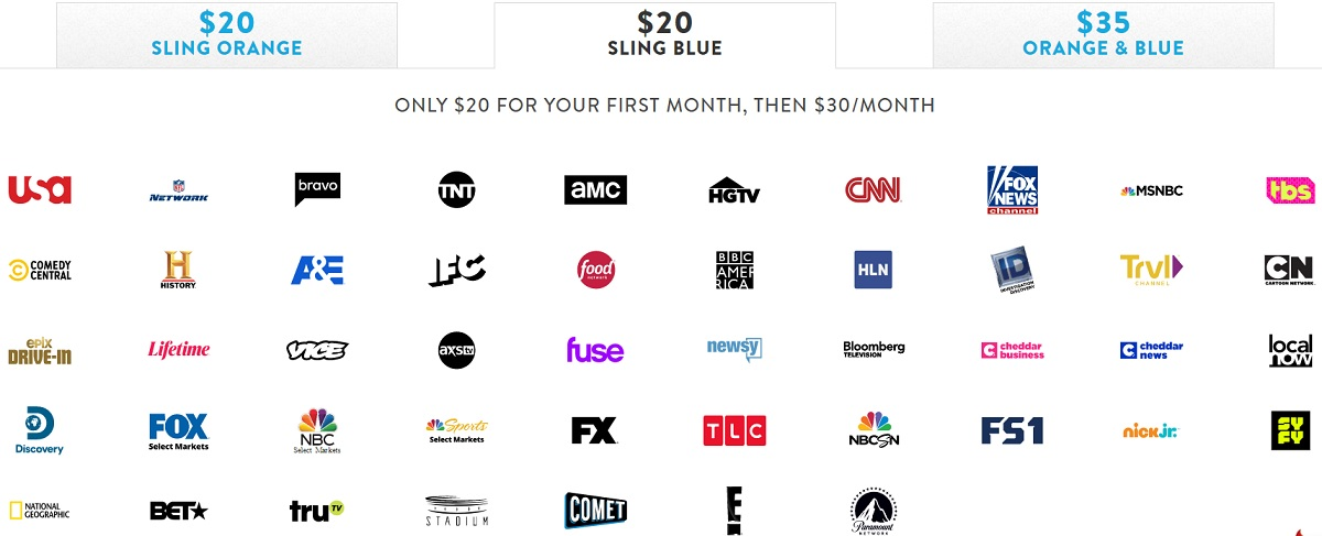 Sling TV Blue package channels